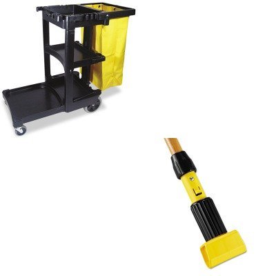KITRCP617388BKRCPH216 - Value Kit - Rubbermaid-Gripper Wet Mop Handle (RCPH216) and Rubbermaid Cleaning Cart with Zippered Yellow Vinyl Bag, Black (RCP617388BK) by Rubbermaid