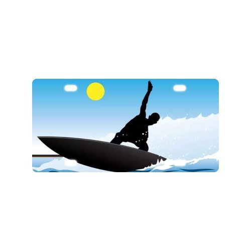 Surfer Silhouette License Plate with made from Aluminum-12