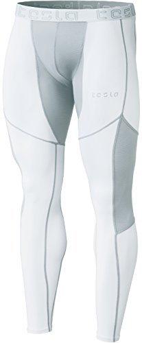 TSLA TM-MUP79-WTL_Large Mens Mesh-Panel Compression Pants Baselayer Cool Dry Sports Tights Leggings MUP79