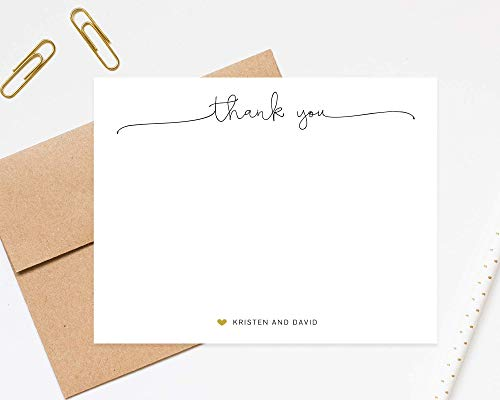(Script Thank You Couple Personalized Stationery With Envelopes - Elegant Thank You Notecards - Newlywed Thank You Stationary)