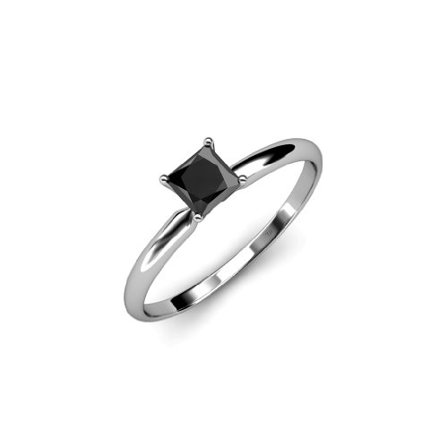 Black Diamond Princess Cut Solitaire Ring 0.50 ct in 14K White Gold.size (1/2 Carat Princess Cut Solitaire)