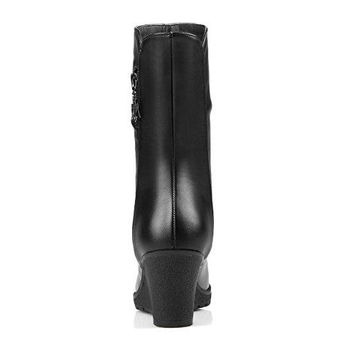 YE Damen Keilabsatz Ankle Boots Stiefeletten High Heels mit 7cm Absatz Elegant Bequem Schuhe Schwarz