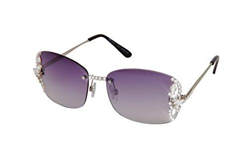 William Wang Women's Designer Sunglasses with Hand Set Swarovski Crystal Jewels (Black, - Eyewear Swarovski Crystal