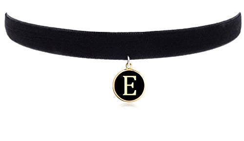 """Cozylife 3/8"""" Girls Black Velvet Choker Necklace with 26 Letter Pendant (E)"""