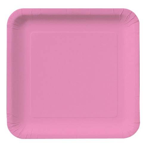 Creative Converting 18-Count Touch of Color Square Paper Dinner Plates, Candy Pink ()