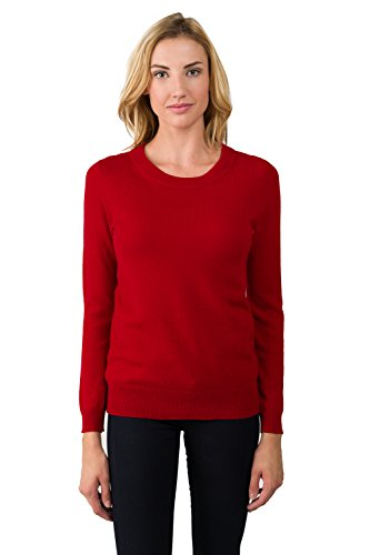 JENNIE LIU Women's 100% Pure Cashmere Long Sleeve Crew Neck Sweater (M, Red) (Best Cashmere Sweater Brands)