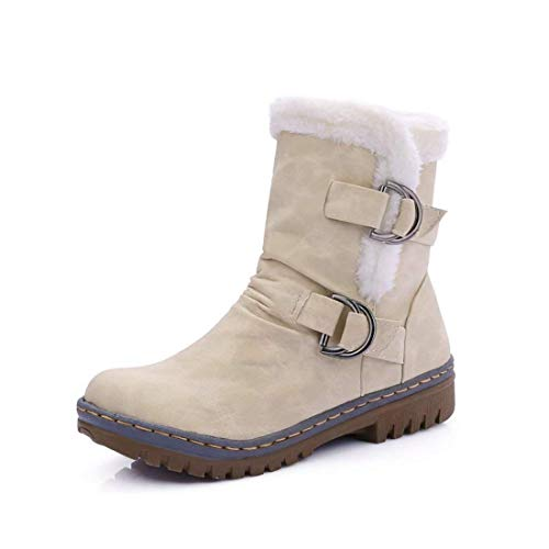 (Womens Ankle Boots Flats Fur Warm Winter Snow Booties Buckle Strappy Waterproof Slip on Sneakers Shoes(Beige-10 M US))