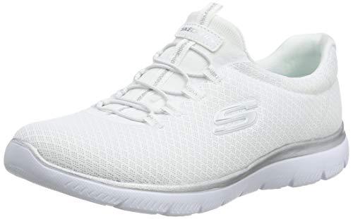 Skechers Women's Summits Sneaker, White/Silver,...