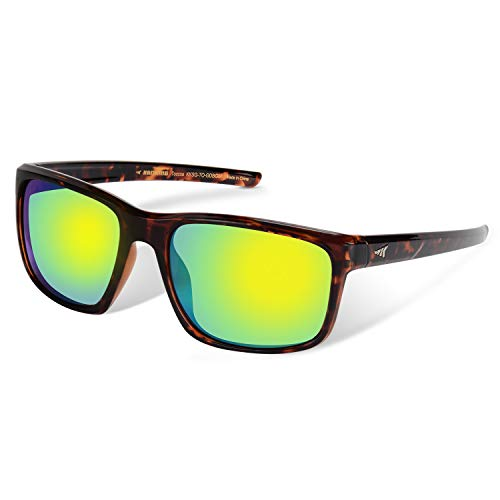 KastKing Toccoa Polarized Sport Sunglasses, Gloss Demi Frame, Brown Base Chartreuse Mirror
