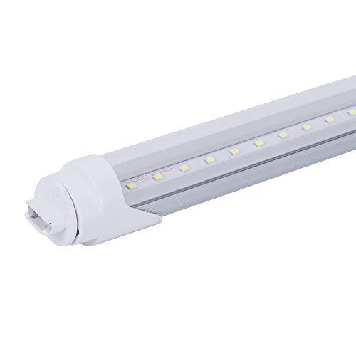 ETL LED Tube Light 8FT T8 R17D, T10 T12 HO Base Shop Light, Replacement for F96T12 Florescent Tube, 110-277V input, 4000LM, Cold White 6000K, Clear Cover (1 Pack)