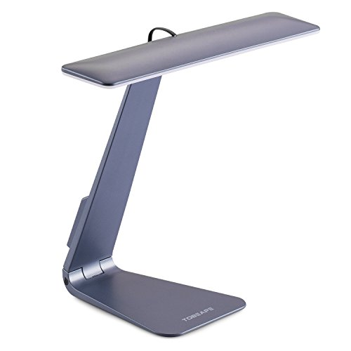Spectrum Thin - Tobeape LED Desk Lamp, Cordless Ultra-thin Office Light, Rechargeable USB Powered, Eye-caring Table Lamp with 3 Level Dimming, Touch Control - Grey