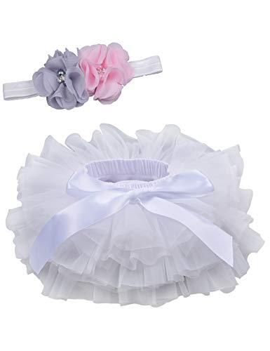 - Baby Girls Tutu Bloomers Diaper Cover Cotton Tulle Bloomers and Headband Set White 0-6 Month