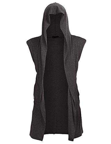 UUANG Mens Casual Long Cardigan Vest Shawl Collar Lightweight Open Front Sleeveless Dark Grey,L (Vest Long Mens)