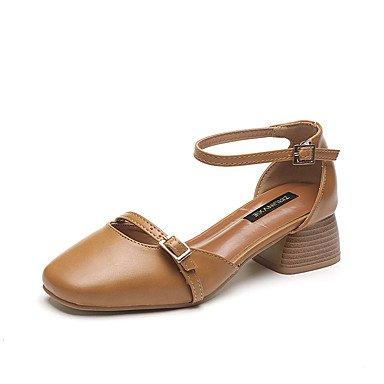Donne 039 s sandali Gladiator Comfort PU Primavera Estate parte &amp abito da sera Gladiator Comfort fibbia Chunky Heel marrone chiaro beige BlackLight BrownUS8 EU39 UK6 CN39
