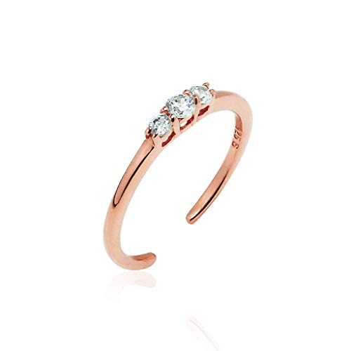 Big Apple Hoops Sterling Silver Toe Rings 3 Stone Cubic Zirconia CZ Rose Gold Flashed Finish