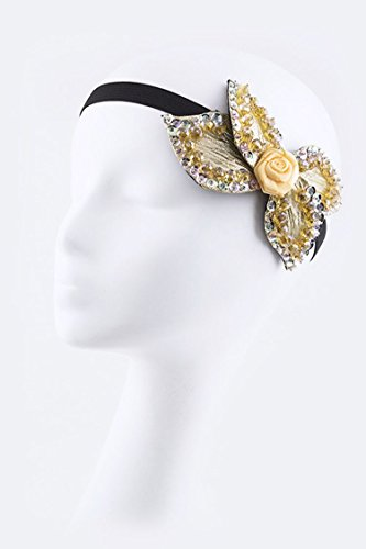 Trendy Fashion Jewelry Sequins Rosette Stretch Headband By Fashion Destination | (Yellow) (Rosette Resin)