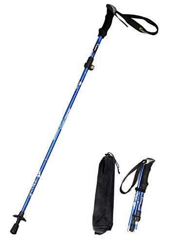 Alafen Aluminum Collapsible Ultralight Travel Trekking Hiking Pole for Men and Women Blue