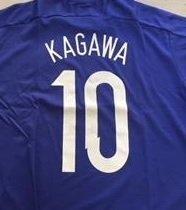 簡単に筋肉のシートサッカーゲームシャツ 日本代表 香川 ブルー 半袖 KAGAWA T1318