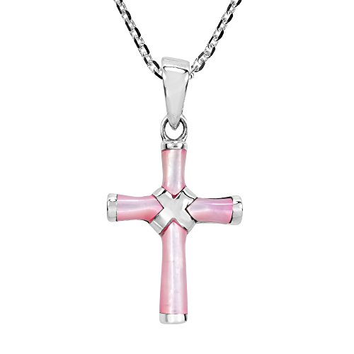 AeraVida Cross Pink Mother of Pearl X Wrap .925 Sterling Silver Pendant Necklace