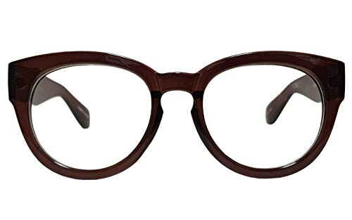 fac00fed5f Classic Round Horn Rimmed Eye Glasses Clear Lens Oval Non Prescription Frame  (Brown 6041