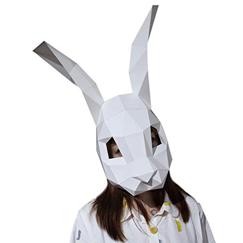 Jizhen Halloween Mask Mardi Gras Party Masquerade Mask,DIY Christmas Bunny Mask Animal Wig Cute Full Face Mask Pink Prom Masks -