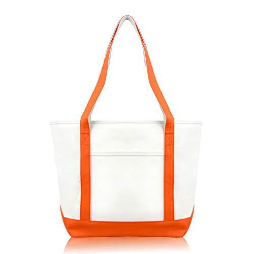 DALIX Daily Shoulder Tote Bag Premium Cotton in Orange ()