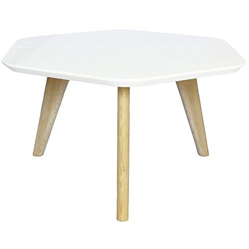 2xhome - White - Eames Style Hexagon End