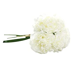 Wakeu Home Décor Artificial Peony Fake Silk Flower 1 Bouquet 5 Heads Floral Living Room Bedroom Home Garden Decoration in Pots Vase for Desk Table (F) 56