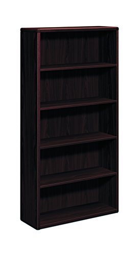 Hon 10700 Waterfall Edge - HON 10700 Series Wood Bookcase  - Bookcase with Five Shelves, 36w x 13 1/8d x 71h, Mahogany (H10755)