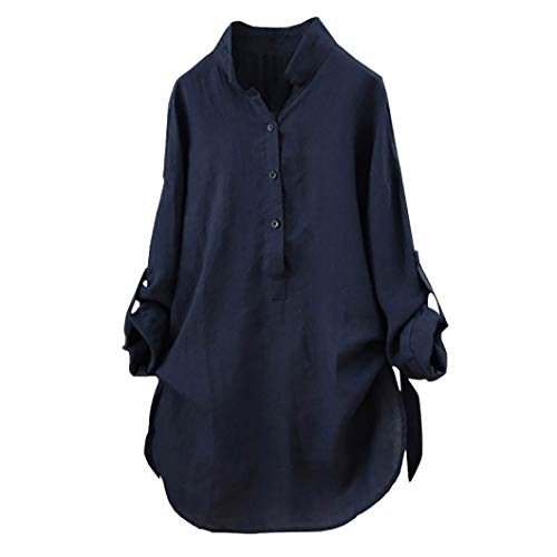 Women Plus Size Cotton Linen Shirt Solid Long Sleeve Oversized Casual Blouse Top(Navy,Medium)