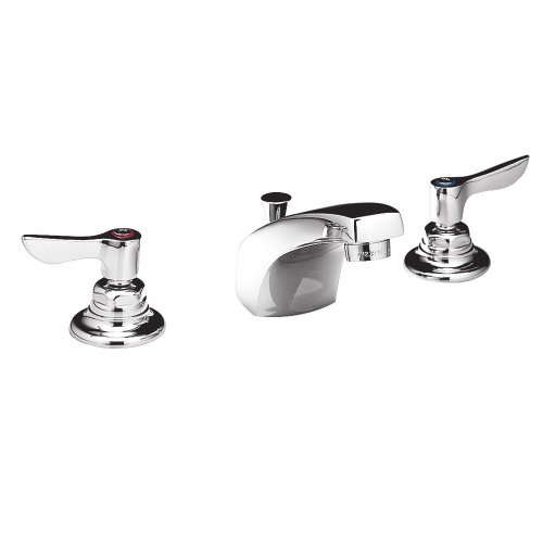 American Standard 6500.145.002 Monterrey 0.5 Gpm Widespread Lavatory Faucet with VR Metal Lever Handles Less Drain, Polished Chrome