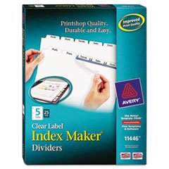 ** Index Maker Clear Label Dividers, 5-Tab, Letter, White, 25 Sets **