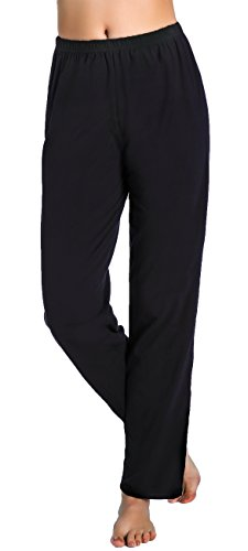 Spandex Stretch Sleep Pant (Chamllymers Women's Soft Long Cotton Sleep Pants Black XL)