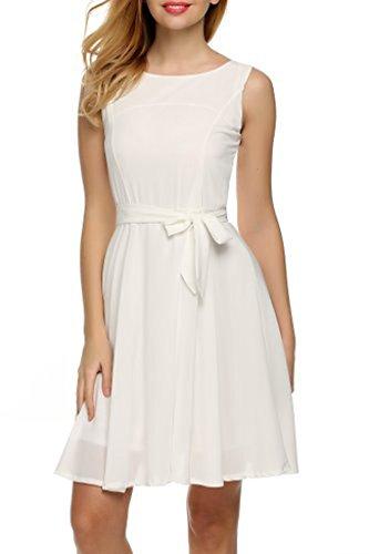 Women's Summer Sleeveless O Neck Sundress Chiffon Beach Casual Mini Dress