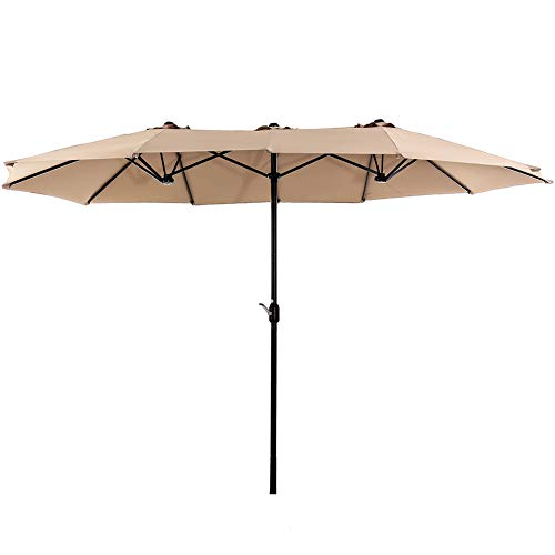 SUPERJARE 14 Ft Outdoor Patio Umbrella, Extra Large Double-Sided Design with Crank, 100% Polyester Fabric – Beige