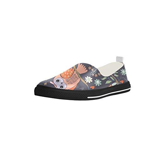 D-historien Tilpasset Ugle Og Blomst Slip-on Microfiber Menns Sko Sneaker