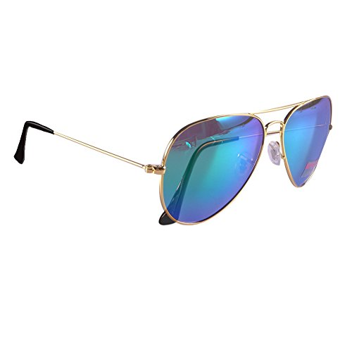 Sunrun Golden Metal Frame Premium Full Mirrored Aviator Sunglasses Mirror Lens 3025 (color - Colour Golden Aviator