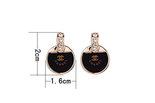[Kelly Shop Women's Fashion Accessories Korean Style Earrings Supplies (round black)] (Womens Accessories Shop)