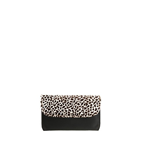 Ponyhair GION Bag Netta Black Leather Evening and Leopard White Women 7IIBqzr