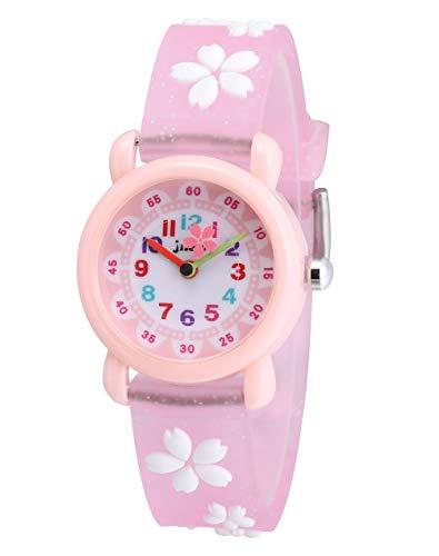 Children Kids Toddler Watches Time Teacher Watches, Cartoon Character 3D Silicone Band Watches (Sakura-Pink)