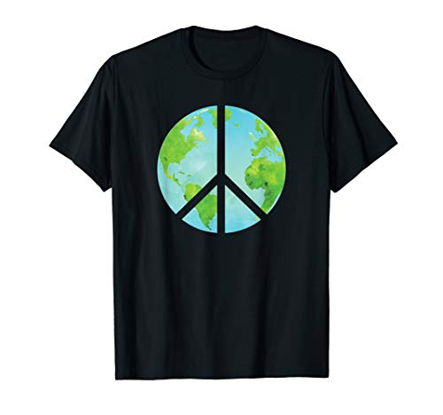 Planet Earth Peace Sign - Earth Day T Shirt ()