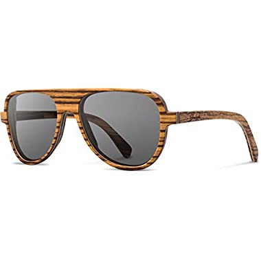 Shwood - Medford Wood, Classic Design with a Unique Twist, Zebrawood, Grey Polarized Lenses