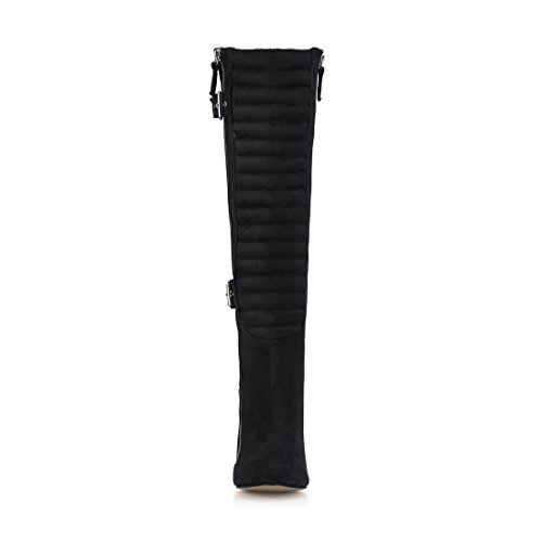 Buckle CHMILE Sexy High Long Zippers Stiletto Pleated High Knee Boots Boots Heeled Suede Black CHAU Women a8rxqwaA