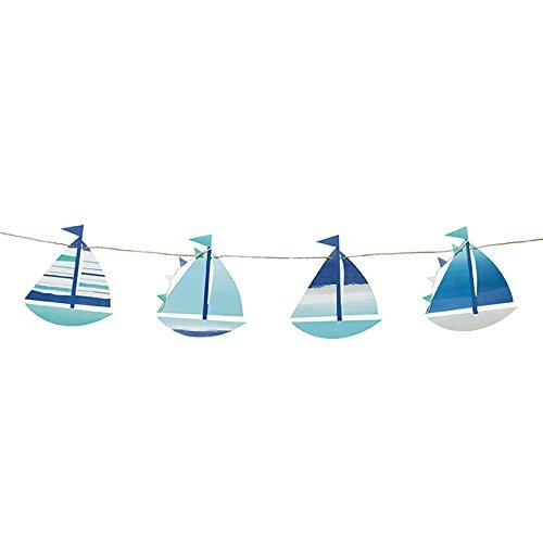 Talking Tables Coast-BTGARLAND Coastal Boat Motif Banner Intricate Detail for Your Home Décor or Beach Party, Blue