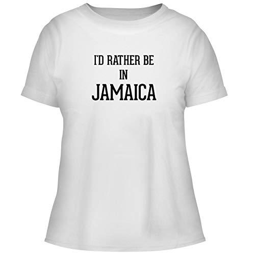 I'd Rather Be in Jamaica - Cute Women's Graphic Tee, White, Medium