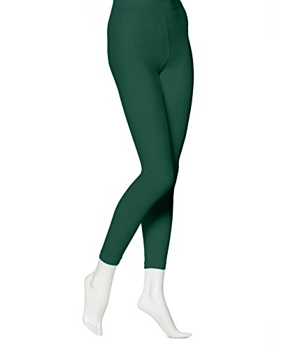 EMEM Apparel Women's Ladies Solid Colored Seamless Opaque Dance Ballet Costume Full Length Microfiber Footless Tights Leggings Stockings Hunter Green E -