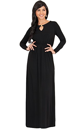 KOH KOH Plus Size Womens Long Sleeve Sleeves Modest Flowy Fall Winter Formal Empire Waist Evening Day Work Casual Abaya Muslim Wedding Gown Gowns Maxi Dress Dresses, Black 2X 18-20