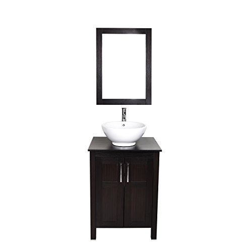 Modern Furniture 24 Inches Single Sink Bathroom Vanity with Ceramic Porcelain Sink Top, with Frame Mirror, Chrome faucet, Pop Up Drain Set