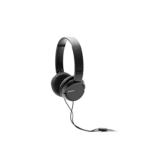 Sony MDR-ZX110AP Wired On-Ear Headphones with tangle free cable, 3.5mm Jack, Headset with Mic for phone calls and 1 Year Warranty - (Black)