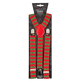 [Unisex Christmas Braces Suspenders Costume Accessory (Red & Green)] (Costumes Braces)
